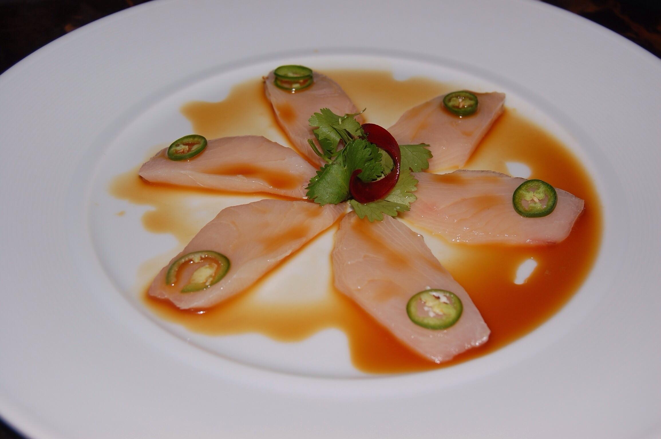 yellowtail sashimi with serrano peppers - HD2310×1536