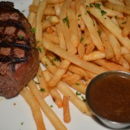 Grilled Filet Mignon w/ Peppercorn sauce & Hand-cut Fries at Killer Shrimp